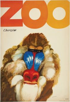 ZOO Chorzow Mandrill Polish Vintage Poster great M. Art Deco Posters, Vintage Posters, Poster Prints, French Posters, Polish Movie Posters, Postcard Format, Zoo Art, Aquarium, Baboon