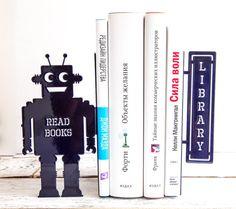 Bookends shelf decor Robots read too II  by DesignAtelierArticle, $49.00
