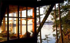Novotny Cabin by Miller Hull. 1990.  Decatur Island in the San Juan Island chain