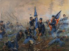 Here is a new painting done for the Union League of Philadelphia depicting the 6th United States Colored Troops at the Battle of New Market Heights , Sept 29, 1864. The bravery of this regiment along with the 4th Regt. was equal to that of the 54th Massachusetts at Battery Wagner but is largely forgotten. The 6th suffered 57% losses in the assault against the Texas Brigade at Fort Harrison. Here, Medal of Honor recipients Sergt. Major Thomas Hawkins, Lt. Nathan Edgerton and First Sergeant…