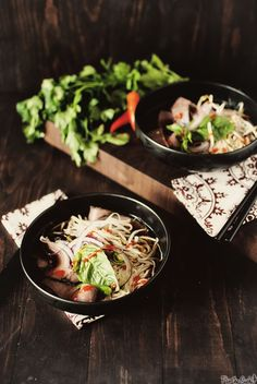 Beef Pho- Don't be afraid of a dish like this, It is so incredibly simple. You need brisket which had been thinly slice, broth, and rice noodles. We add onions and napa cabbage and it is delicious