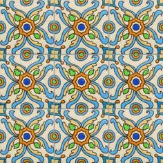 California Revival Collection, Armena, hand painted ceramic tile designed by Artisans Susanne Redfield.  Available only at Tango Tile.