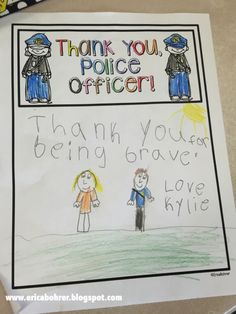 Thank you Police Officer, Patriot Day! Great for when we do community helpers! Police Officer Crafts, Police Crafts, First Responders Day, Community Workers, Community Service, Catholic Schools Week, Police Wife Life, Community Helpers Preschool, Patriots Day