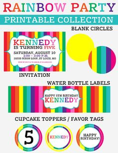 Printable Rainbow Party Collection
