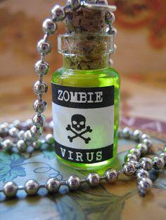 Zombie Virus bottle charm
