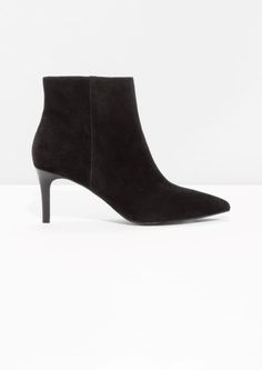 88d5ece61f5f89  amp  Other Stories image 1 of Stiletto Ankle Boots in Black Suede Pointy  Boots
