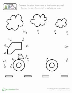 Preschool The Alphabet Dot-to-Dots Vehicles Worksheets: Truck Dot-to-Dot