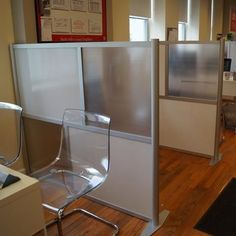 """60"""" wide x 51"""" high Office Partition, Translucent White & Frosted Hammered Freeze Panels, Model SW6051-2 - iDivide Modern Room Dividers & Office Partitions"""