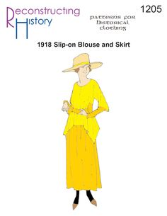 1918 Blouse and Skirt pattern   Downton Abbey Dress Pattern   Drop-Waist Dress Pattern Corset Sewing Pattern, Skirt Patterns Sewing, Skirt Sewing, 1920s Dress Pattern, Edwardian Dress, Edwardian Fashion, Medieval Fashion, Calf Length Skirts, Blouse And Skirt