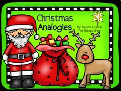 From The Therapy Crate:This is the perfect analogies activity for the holiday season! Your students will love the colorful, jolly graphics and youll love the way they participate in the learning process. There are 25 analogies, each incorporating Christmas vocabulary. Some analogies are more obvious than others.