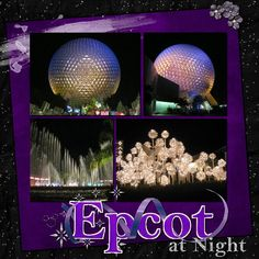 Spaceship Earth at Night - MouseScrappers.com