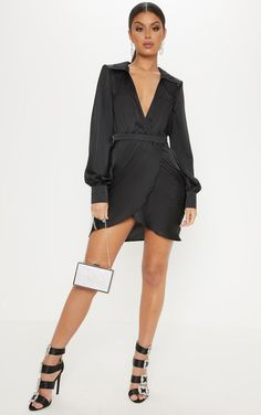 4c929ef9ea Black Satin Plunge Shoulder Pad Wrap Dress
