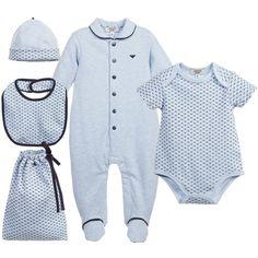 Armani Baby Boys Pale & Navy Blue 5 Piece Gift Set at Childrensalon.com