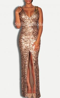 ffcd1f66fdd Gold Sequined Front Slit Padded Maxi Gown