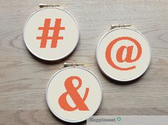 Modern & contemporary cross stitch patterns by Happinesst Alphabet Signs, Types Of Stitches, Modern Cross Stitch Patterns, Different Colors, Symbols, Etsy, Unique Jewelry, Handmade Gifts, Place