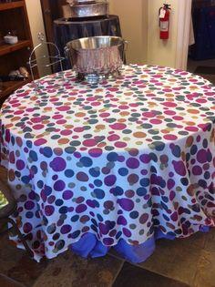 """Polka dot """"Chameleon Linen"""" in showroom -- over a purple linen"""
