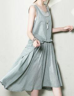 Gray grid layered cotton sundress summer maxi dresses long cotton clothing plus size