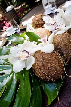 Tropical Flower Arrangements Wedding Simple – It does not matter what time of yr, we love flowers. Tropical Centerpieces, Wedding Centerpieces, Wedding Table, Centrepieces, Table Centerpieces, Festa Party, Luau Party, Coconut Flower, Coconut Shell