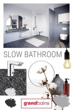 Une salle de bains Slow Life pour un design épuré, une décoration apaisante, des matériaux écologiques issus du recyclage, une réduction de la consomation d'eau et des matières naturelles avec @grandbains01 Slow Bathroom correspond à la recherche de produits plus responsables. La quête d'une salle de bain durable, confortable et design. Débit réduit, capteur infra-rouge ou produits issus de matière recyclée, cette salle de bains offre un maximum de confort tout en ayant une démarche éthique. Slow Living, Decoration, Mirror, Bathroom, Furniture, Home Decor, Clean Design, Recycling, Bath