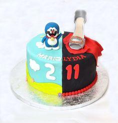 2 en 1. Doraemon + zapato. Tarta fondant.