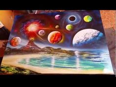 Planets and volcano spray art by Porfirio Jimenez. I am seriously addicted to this guy's videos! So talented!