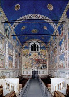 Arena (Scrovegni) Chapel, including Lamentation. Padua, Italy. Unknown architect; Giotto di Bondone (artist). Chapel: c. 1303 C.E.; Fresco: c. 1305. Brick (architecture) and fresco.