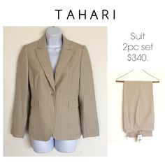 """Tamarin Arthur S. Levine Pant Suit A classic-fit pant suit that's always in style. Jacket has notched lapels, long sleeves, single button closure, flap pockets, fully lined and princess seams for a flattering silhouette. Pants have button, hook, zip closure and are fully lined and approx 30"""" inseam. Color Beige. New! Tahari Jackets & Coats"""