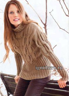 Свитер с «косами» и пышными рукавами. Вязание спицами Объем свитера достигается благодаря толстым «косам», которые придают пышность рукавам. Высокие резинки дополняют модный силуэт