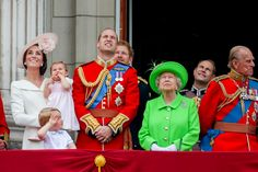 LONDON, ENGLAND - JUNE 11:  Catherine, Duchess of Cambridge, Princess Charlotte, Prince George and Prince William, Duke of Cambridge and Queen Elizabeth II tand on the balcony during the Trooping the Colour, this year marking the Queen's official 90th birthday at The Mall on June 11, 2016 in London, England. The ceremony is Queen Elizabeth II's annual birthday parade and dates back to the time of Charles II in the 17th Century when the Colours of a regiment were used as a rallying point in…
