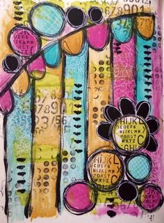 30 minute art journal page, fast and messy....just how I like it !!