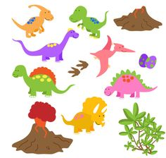 Dinosaur Clip Art Clipart - Commercial and Personal Dinosaur Printables, Free Printables, Dinosaur Silhouette, Dinosaur Illustration, Baby Dinosaurs, Dinosaur Birthday Party, Birthday Ideas, Cute Clipart, Cute Dinosaur