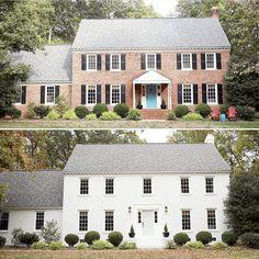 Best ideas for house brick colors exterior floor plans Colonial House Exteriors, Painted Brick Exteriors, Colonial Exterior, Exterior House Colors, Exterior Design, Painted Bricks, Exterior Paint, Brick Home Exteriors, White Wash Brick Exterior