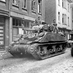 A Sherman tank of 8th Armoured Brigade in Kevelaer, Germany, 4 March 1945.