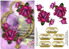 Twilight Roses Golden Frame on Craftsuprint designed by Anne Lever - This lovely topper features beautiful twilight roses on a fancy golden frame. It has a single layer of decoupage to add depth and five greetings to choose from. The greetings are happy mothers day, happy birthday, mum, to my friend and just because. - Now available for download!
