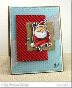 Jingle All the Ways tamp set and Die-namics, Diagonal Stripes Background, Fine Check Background, Horizontal Stitched Strips Die-namics, Stitched Rectangle STAX Die-namics, Stitched Square STAX Die-namics - Jodi Collins #mftstamps