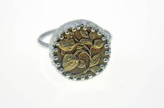 Floral metal button ring