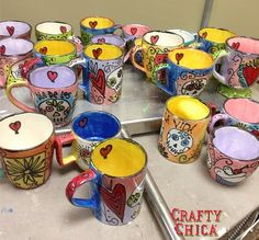 Last year I went on a mug painting bender. From September-January, I painted and sold close to 400 ceramic mugs. I didn't paint another mug for a long time.