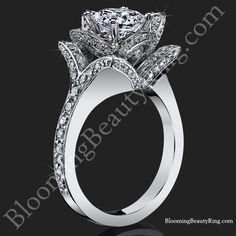 The crimson rose ctw. rose cut flower diamond engagement ring standing up Rose Gold Engagement Ring, Designer Engagement Rings, Engagement Ideas, Gemstone Rings, Diamond Rings, Solitaire Rings, Solitaire Diamond, Diamond Jewelry, Diamond Cuts
