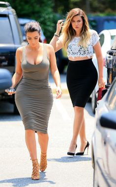 Kim Kardashian's Skintight, Cleavage-Baring Dress and Khloé's See-Through Crop Top: Sisters Keep Sexing Up the Hamptons! | E! Online Mobile