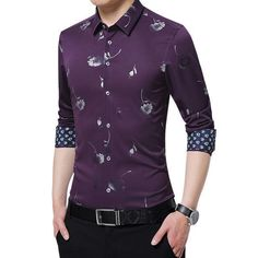 Men's Shirts Mens Flower Shirt Casual Slim Fit Shirt Clothing Type: Men's Shirts Shirts Type: Casual Shirt, Flower Shirt, Slim Fit Shirt Collar: Turn-down Collar Material: Cotton Closure Type: Single Breasted Pattern Type: Print