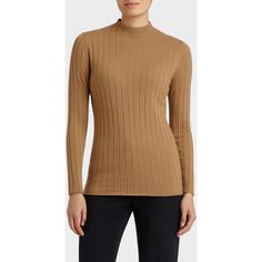Lafayette 148 New York Cozy Flannel Ribbed Turtleneck (€270) ❤ liked on Polyvore featuring tops, sweaters, teak, mock turtle neck sweater, brown turtleneck, mock neck sweater, brown sweater and ribbed sweater