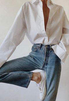 White Shirt Outfits, Casual Outfits, Cute Outfits, Fashion Outfits, Inspiration Mode, Daily Fashion, Spring Outfits, Blue Jeans, My Style
