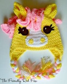 Crochet Little Pony Hat The Friendly Red Fox: Free Crochet Little Pony Hat Pattern in Four Different Sizes!The Friendly Red Fox: Free Crochet Little Pony Hat Pattern in Four Different Sizes! Crochet Animal Hats, Crochet Kids Hats, Crochet Beanie Hat, Crochet Crafts, Yarn Crafts, Crochet Projects, Knitted Hats, Kids Crochet Hats Free Pattern, Crochet Horse