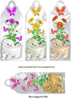 FLUFFY KITTENS FLOWERS AND BUTTERFLIES BOOKMARKS on Craftsuprint designed by Nick Bowley - FLUFFY KITTENS, FLOWERS AND BUTTERFLIES BOOKMARKS, Beautiful for cards to, just add some sparkle, there are lots of others to see - Now available for download!