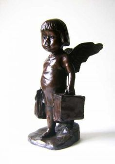 Bronze Sculpture of Children by artist Graham Ibbeson titled: 'Down to Earth Baby (Fallen Angel bronze statue/sculpture)'