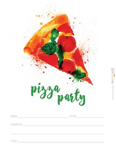 Hostess Helpers: Free Pizza Party Printables: Adults' Pizza Party Invitation | thegoodstuff