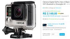 Câmera Digital GoPro Hero 4 Black Adventure 12MP com WiFi Bluetooth e Gravação 4K << R$ 189112 >>