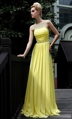 d432b47bb1 Fabulous Bateau Neckline Floor-Length Evening Homecoming Dress    Tidebuy.com Yellow Gown