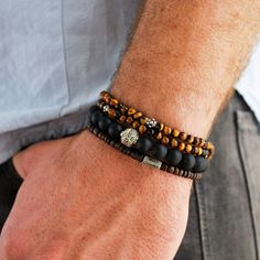 Tiger Eye wrap and African Glass and Sterling Silver bracelet with Black Onyx & Sterling Silver bracelet.