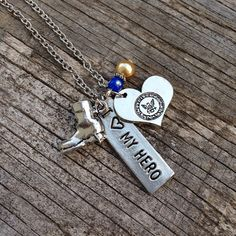 Support your Sailor and show your love by wearing this statement necklace!    This beautiful, yet simple, design features a silver United States